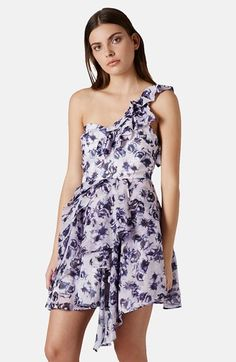 Topshop One-Shoulder Floral Chiffon Dress available at #Nordstrom