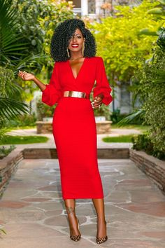 Classy Dress, Classy Outfits, Chic Outfits, Dress Outfits, Fashion Dresses, Red Dress Outfit, Moda Afro, Fitted Midi Dress, Online Dress Shopping
