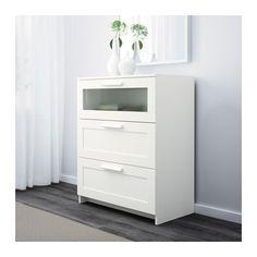 BRIMNES Commode 3 tiroirs, blanc, verre givré blanc/verre givré 78x95 cm
