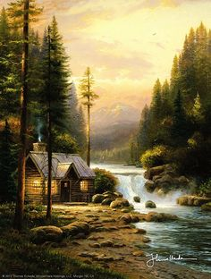 Thomas Kinkade ~ Evening in the Forest