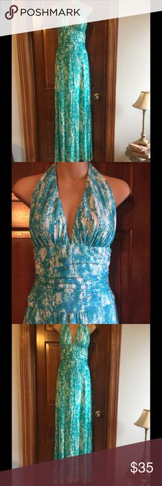 TART MAXI HALTER DRESS NWT Tart halter dress in beautiful blue/green/turquoise colors. 95% modal 5% spandex.  Machine wash, gentle dry. Tart Dresses Maxi
