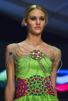 A model displays a creation by the designers' collective Wayuu during the Bogota Fashion Week, in the Colombian capital, on May 9, 2013. AFP PHOTO/Luis Acosta