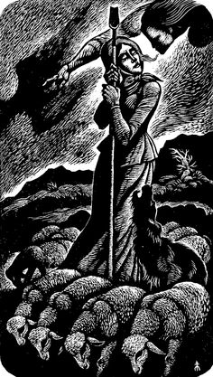 """Fritz Eichenberg (1901-1990) """"The Shepherdesss"""" wood engraving. Signed, titled and numbered 6/50. Most likely cut mid-20th century for """"The Catholic Worker"""" newspaper."""