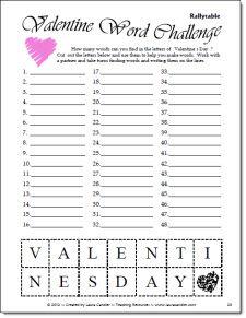 Valentine Word Challenge Freebie from Laura Candler