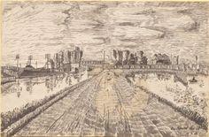 """""""Am Kanal bei M."""", Tuschezeichnung: Zentral in der Bildmitte dominiert ein Feldweg, der von Gewässern begrenzt wird. Im Hintergrund befinden sich verschiedene Gebäude. Bestand 192-31, Nr. 31."""