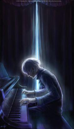 Piano boy Manga Illustrations by Wenqing Yan Sad Anime, Anime Guys, Manga Art, Anime Art, Yuumei Art, Illustration Manga, Manga Illustrations, Anime Lindo, Animes Wallpapers