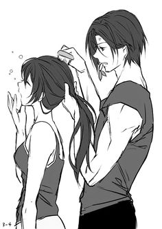 This picture reminds me of when I let my brother do my hair. :)