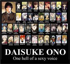 Daisuke Ono (Sebastian Micahelis,Kazuma, Kuroh Yatogami, Saizo (Brave10)  Kuroh (K), Shintarou (Kuroko No Basket), Jack (Pandora Hearts) )