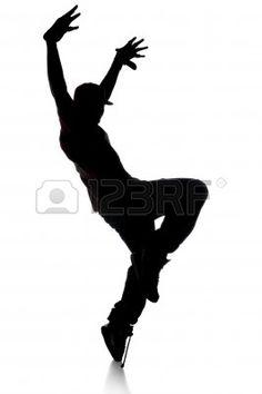 Silhouette de danseur hip-hop sur un fond blanc Banque d'images