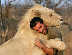 This is my dream.....I would love to hug a lion or tiger. He is so lucky to have the trust of that lion.