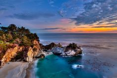 california julia pfeiffer burns state park big sur mcway falls pacific ocean california waterfall mcveigh scully ocean coast tree sunset clouds .