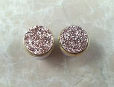 Copper Rose Gold Round Druzy Drusy Plugs Gauges by hoopsandloops