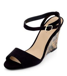 New Look Black Ankle Strap Abstract Print Wedges #strappyshoes #women #covetme