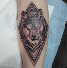 Geometric wolf by Ben @ Iron Buddha Tattoo, Sydney.