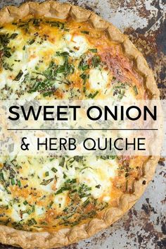 Sweet Onion and Herb Quiche Sweet Onion and Herb Quiche is the perfect recipe --- easy to prep, it goes from breakfast to brunch, to lunch, to dinner without blinking an eye. Recipe credit: The View From the Great Island Breakfast Quiche, Breakfast Dishes, Breakfast Recipes, Quiches, Vegetarian Recipes, Cooking Recipes, Healthy Recipes, Vegetarian Quiche, Herb Recipes