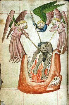 Hellmouth and angels Universitätsbibliothek Salzburg, M I 138, f. 4v. Jacobus de Theramo. Das Buch Belial (Consolatio peccatorum, seu Processus Luciferi contra Jesum Christum). Bavaria/Austria, 1443.