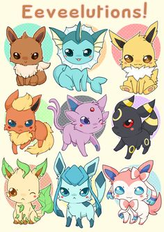 Some chibi eeveelutions I love Sylveon. Cute Animal Drawings Kawaii, Cute Kawaii Animals, Cute Drawings, Anime Chibi, Kawaii Anime, Pokemon Eevee Evolutions, Cute Pokemon Pictures, Cute Pokemon Wallpaper, Kawaii Doodles