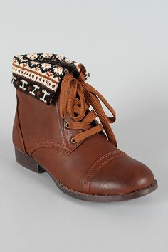 Sharp-8 Lace Up Fairisle Print Cuff Ankle Bootie