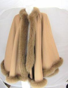 Poncho Pelz Fuchs Fur Cape Mantel Capa Kaschmir caramel
