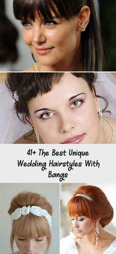 The Best Unique Wedding Hairstyles with Bangs - iHairstyles Website Up Dos For Medium Hair, Short Hair With Bangs, Hairstyles With Bangs, Medium Hair Styles, Short Hair Styles, Long Bridal Hair, Messy Wedding Hair, Bangs Updo, Twist Bun