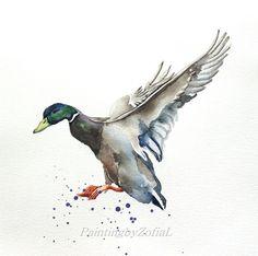 Mallard duck original watercolor painting bird by paintingbyZofiaL