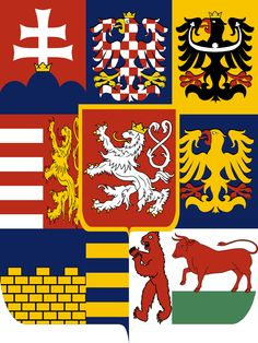 Alternate Kingdom of Great Bohemia coat of arms Kingdom Of Bohemia, Alternate History, Flags Of The World, Graphic Design Print, Chivalry, Family Crest, Crests, Coat Of Arms, Drawing Hair