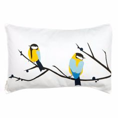 Lorna Syson Juneberry Bird Cushion: Juneberry and Bird, the most popular of Lorna Syson's prints, brings accent splashes of refreshing blue and yellow to brighten up your space.