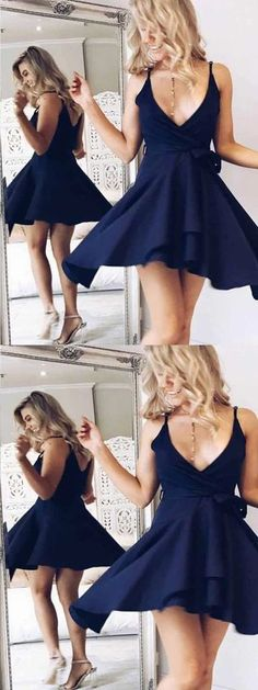 A-Line V-Neck Navy Blue Homecoming Dress with Sash ,Short Prom Dresses,BDY0346#homecoming #homecomingdresses #2020homecoming #homecomingdress