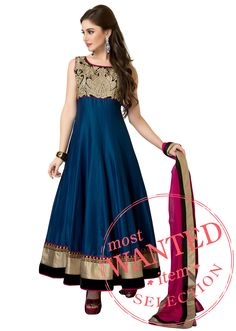 Blue anarkali suit with bodice enhanced in zari embroidery only on Kalki