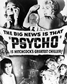 Psycho Big News Alfred Hitchcock Vintage Style Horror Movie Poster