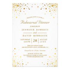 Goild Foil Wedding Rehearsal Invitatons Modern Gold Confetti Dots Wedding Rehearsal Dinner Card