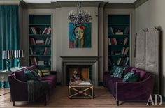 Living room. Sofas, Dantone. Fireplace portal is made to order. In table lamps, Zara Home, has been re-painted base and lampshades decorated with velvet ribbons. Picture Mher Chatinyan. Velvets for curtains and upholstery, Kobe.