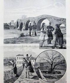 Το γεφύρι της Άρτας, ο πλάτανος και η Ελληνική και Τουρκική φρουρά στον Άραχθο, 1897 Greece, Painting, Memories, Art, Bridges, Greece Country, Memoirs, Art Background, Souvenirs