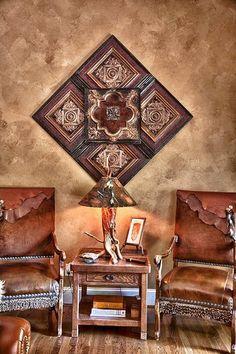 Client Home Photo Sculpture by Kenny The Tin Man Hoff Decor, Southwest Decor, Rustic Decor, Rustic House, Western Home Decor, Western Furniture, Tin Ceiling Tiles, Ranch House Decor, Ceiling Tiles