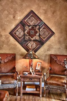 Client Home Photo Sculpture of Antique Tin Ceiling Tiles from The Tin Man