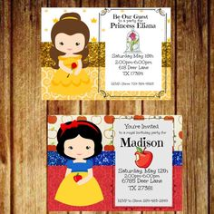 Princess Birthday Party Invitation by PrintablesByKendall on Etsy Beauty And The Beast Party, Beauty Beast, 1st Birthday Parties, 3rd Birthday, Party Guests, Princess Birthday, Party Invitations, Party Themes, Balloons