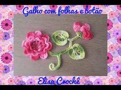 FOLHA COM GALHOS E BOTÃO DA FLOR CALENDULA # ELISA CROCHÊ - YouTube
