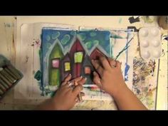 ▶ Mixed Media Art Journal Page - How-To - Acrylic Painting - Home is Where the Heart Is - YouTube