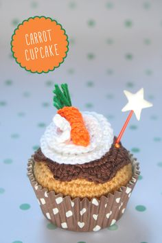 "Carrot crochet cupcake By ""I am a Mess"""