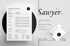 Resume/CV - Sawyer by bilmaw creative on Ready for Print Resume template examples creative design and great covers, perfect in modern and stylish corporate business. Modern, simple, clean, minimal and feminine layout inspiration to grab some ideas. Cover Letter Template, Cv Template, Letter Templates, Card Templates, Business Brochure, Business Card Logo, Business Card Design, Corporate Business, Resume Cv