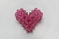 Swarovski Crystal Floating Heart Necklace Pink by HandmadeJILLry, $28.00