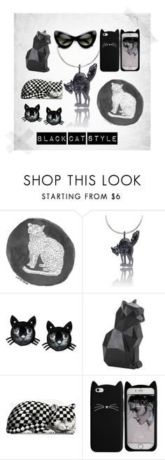 black cat style by gili-sherer-lasri on Polyvore featuring Betsey Johnson, Retrò, Fornasetti, PyroPet and cat