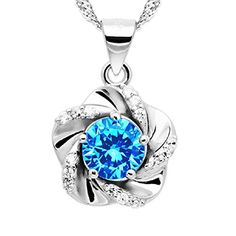 """""""A Touch of Springtime"""" [Azure] Sterling Silver Flower Pendant Necklace >>> More details @ http://www.amazon.com/gp/product/B00P5TOPWU/?tag=jewelry3638-20&pde=010816182013"""