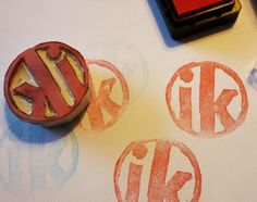 make name and class stamps for students to use on artworks