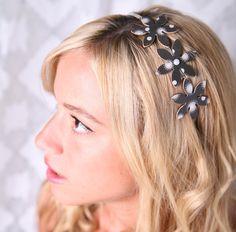 Elegant headband, Black headband, Women hair accessory, Women headband, Metal headband, Flower headband, Elegant accessory, Womens accessory - pinned by pin4etsy.com