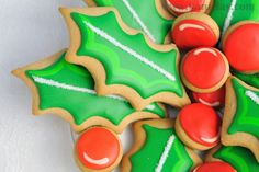 Christmas Holly Cookie Centerpiece by Haniela's
