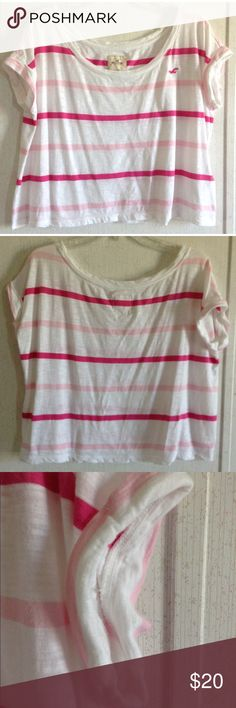 Hollister Pink Striped Crop Top Good condition. Little to no wash wear. Super cute Hollister crop top. White with hot pink and light pink stripes. Crop top style. Boxy oversized fit. Short sleeves that are cuffed. Scoop neck front. Pink Hollister logo embroidered on the front. Slub knit fabric. Size extra small/small. All offers welcome Hollister Tops Crop Tops