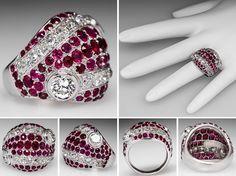 UNHEATED NATURAL RUBY & DIAMOND COCKTAIL RING PLATINUM