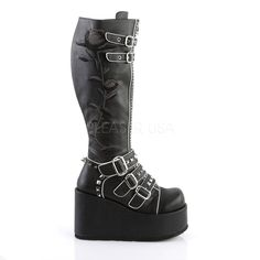4d8c49ccf Concord 110 Black Rose Embroidered White Trim Knee Boot 4.5