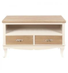 mueble tv cajones madera blanco envejecido vintage fleur